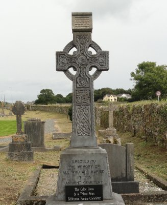A lovely cross, recently erected in memory of those buried in the Abbeystrowry Cemetery