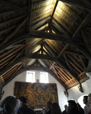 Main living room of the Vicars Choral with restored timber gallery