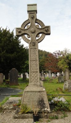 Cross on grave at Glendalough village.  Not sure when erected, but graves dated 1693 and 1894.