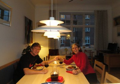 Our first dinner together in our exchange apartment