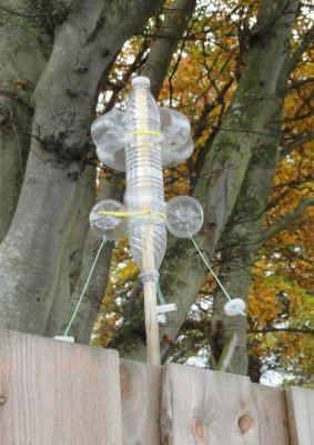Interesting wind catcher made from plastic bottles