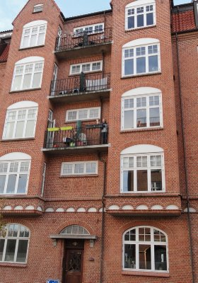 Our 2nd floor inner city apartment ... yes, that is me waving!!