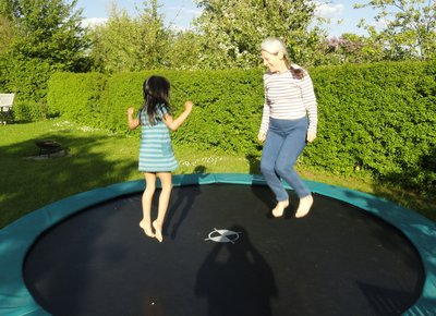 Fun on the trampoline ...  Unfortunately it wasn't very helpful for my knees!!  I'm still feeling the effects.