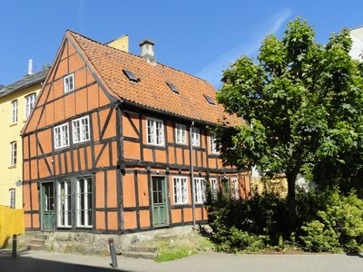A traditional half-timbered house in the middle of town