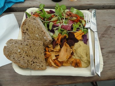 Delicious vegan lunch which was on the menu.  Very impressed as it is a small cafe.