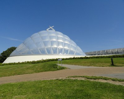 The large dome houses the tropical greenhouse