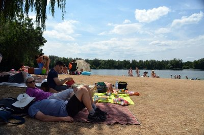 Enjoying a relaxing day at the lake
