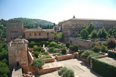 View of Alhambra palaces (left), and Carlos V palace (right) from the Alcazaba