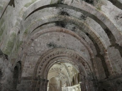 The beautiful vaulted ceiling and arched doorway