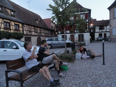 Our lonely Bastille Day celebration in the town square ...  complete with champas ..