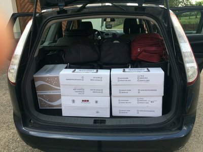Stocking up for the next two weeks at Ruhlmann Dirringer Vineyard, Dambach-la-Ville