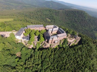 Aerial view of the monastery showing its amazing position on the top of Mont St-Odiel