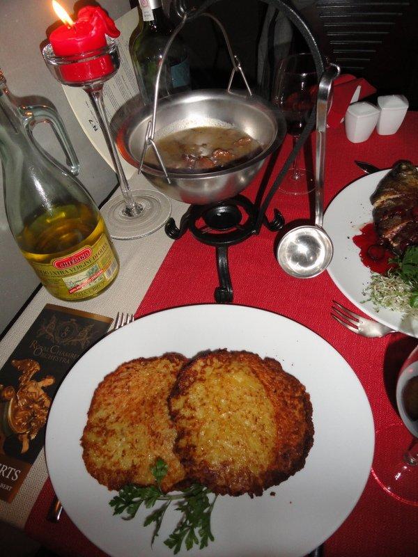 Polish potato pancakes with delicious mushroom sauce
