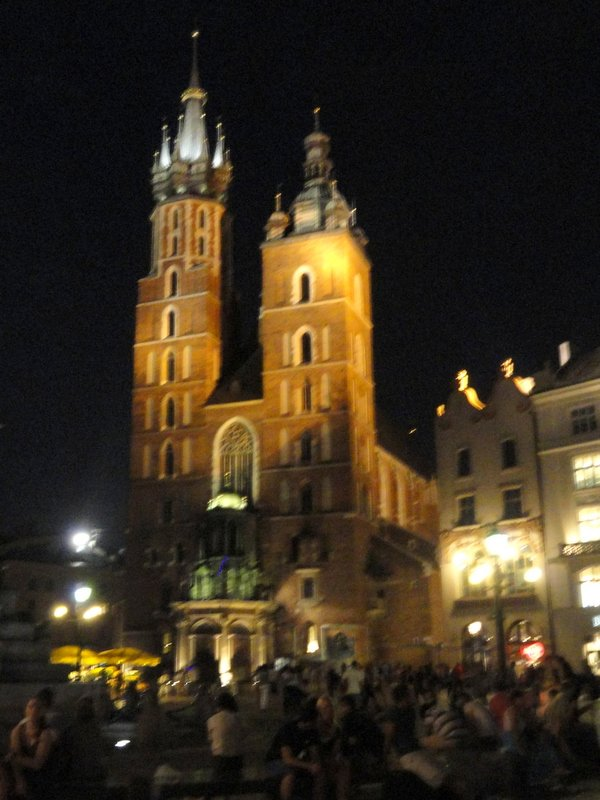 St Mary's Basilica at night
