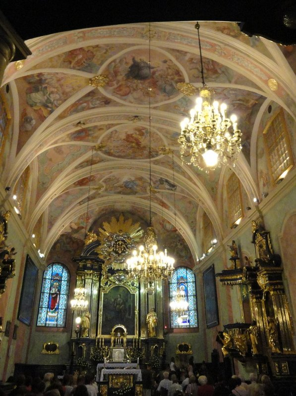 Beautiful ceiling murals, St Barbara's Church, Krakow
