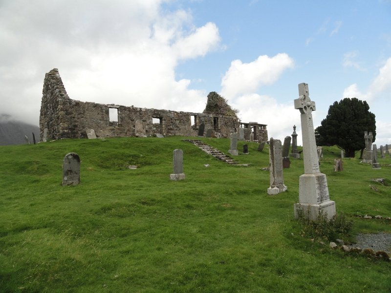 Derelict church and grave stones