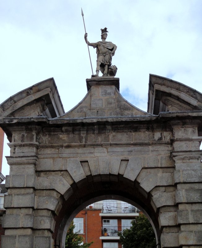 Gate of Fortitude, Dublin Castle.  One of a pair of massive arches erected in the inner courtyard in 1750