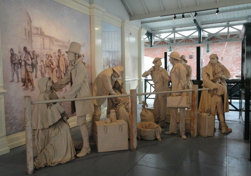 Excellent sculptures depicting the emigration from Ireland