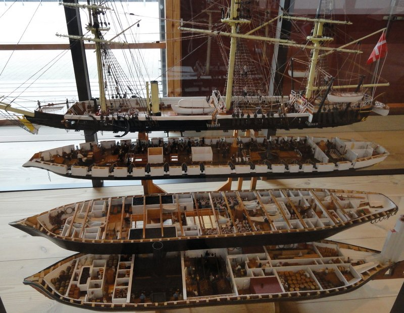 An amazing replica depicting each of the decks on the ship