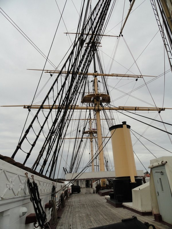 Top Deck with its amazing rigging and three masts.   The ship was also powered by a steam engine ..  the funnel was lowered into the ship, and the propeller pulled up, when the sails were set for long voyages on the ocean.