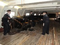 The Battery Deck with its 30 cannons (equivalent weight of 17 elephants).   Each cannon has a crew of nine men.