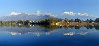 Annapurna Mountain view range with fishtail mountain in Pokhara.