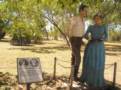 Statues in park of the early settlers of the area