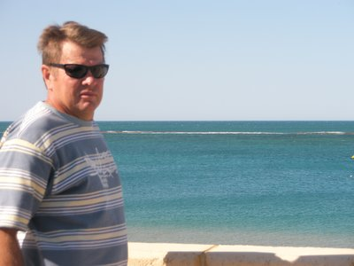 Tony viewing Port Gregory - Lovely to see the ocean is blue