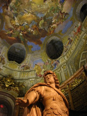 Apotheosis of Emperor Charles VI fresco on cupola ceiling, and statue of Emperor Charles VI