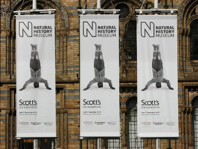 Banners advertising the &#34;Scott&#39;s last expedition&#34; exhibition