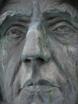 Detail of bust of Roald Amundsen