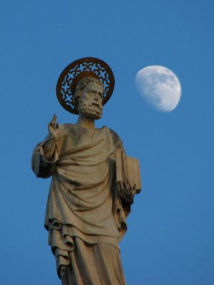 Statue and moon