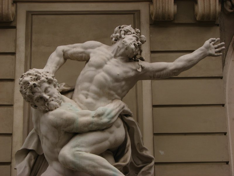 Hercules wrestling with Diomedes prior to stealing his mares