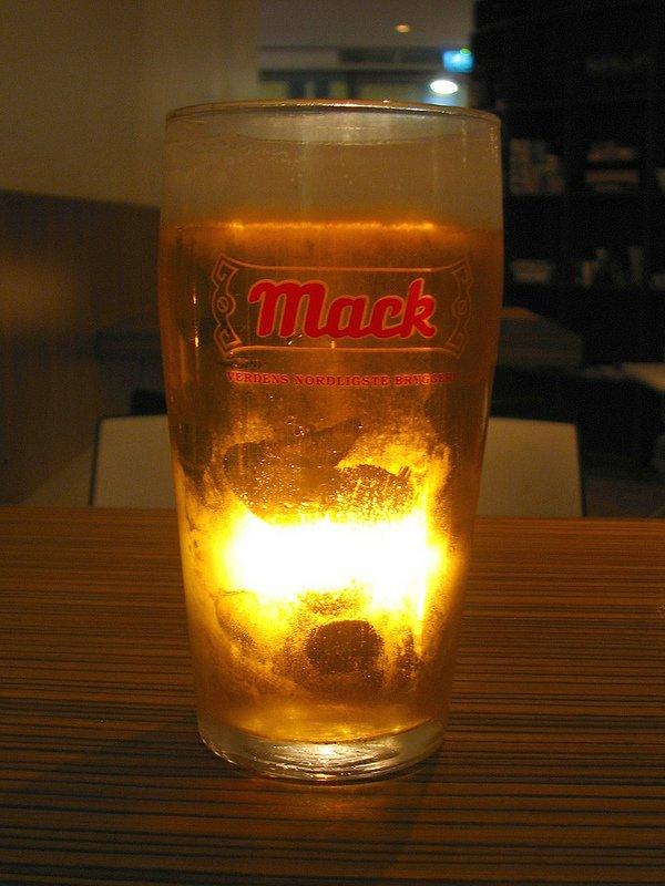 Glass of Mack beer