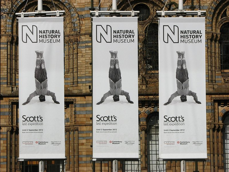 "Banners advertising the ""Scott's last expedition"" exhibition"