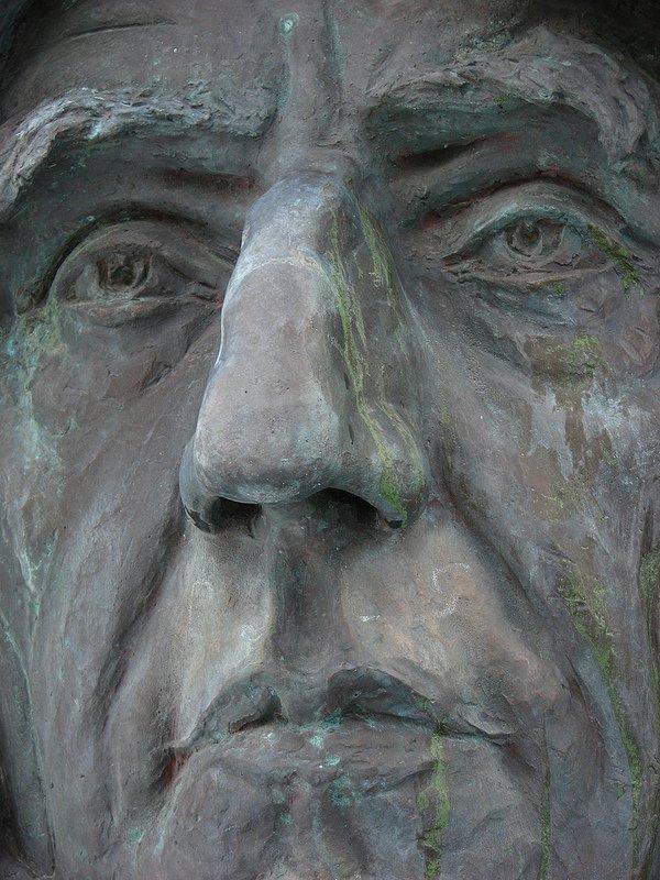 Detail of bust of Roald Amundsen