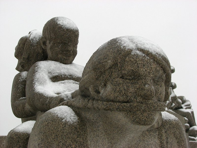 Detail of &#34;Boy and girl riding on woman&#39;s back&#34;