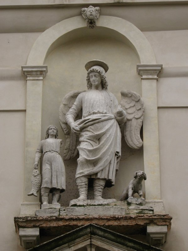 Sculpture of Tobias, Archangel Raphael, and the dog
