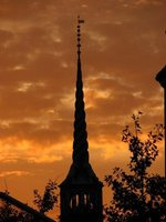 Spire at sunset