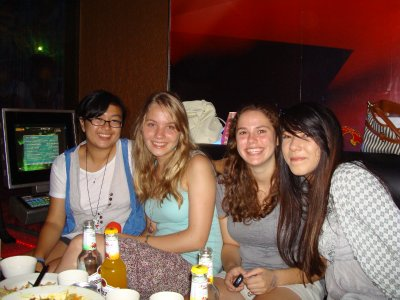 Me, Carrie, Rike, and Angelqiue at Carrie's Birthday Party