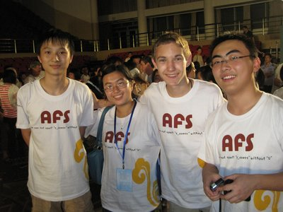 Me, Grant, and some Chinese AFS students we met at the AFS Party.