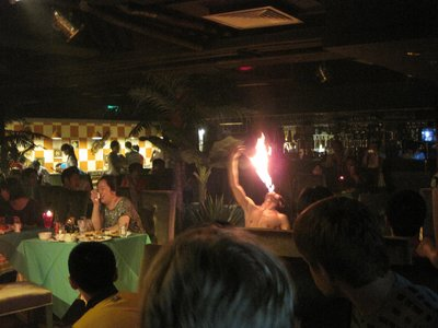 Man Breathing Fire at the Restaurant
