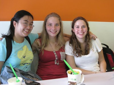 Me, Carrie, and Rike at the Yogurt Shop
