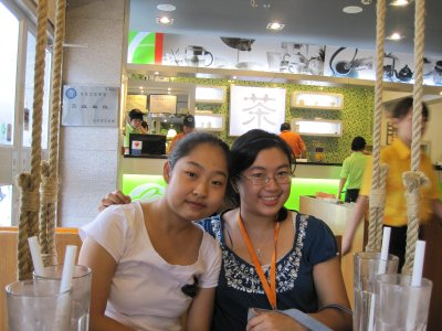 Henan and me at the Juice Shop
