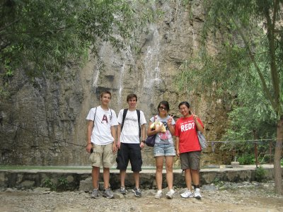 In front of the Waterfall with Grant, Brett, and Angelique