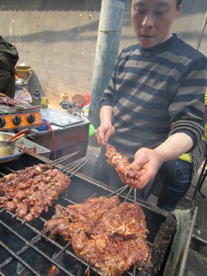 Beef skewers in Muslim Quarter