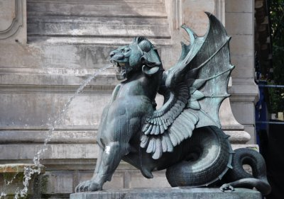 Lion spouting water -Fontaine Saint-Michel - Place Saint Michel, Latin Quarter - constructed by Gabriel Davioud 1855-60