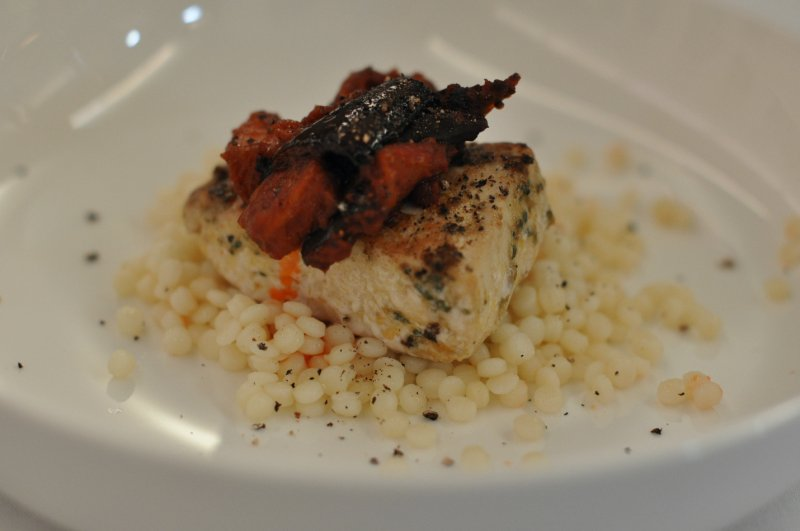 Cermoula Crusted Kingfish with Moroccan Eggplant Salad and Sardinian Couscous