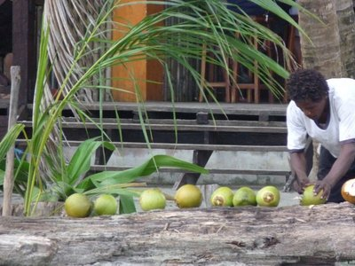 man with coco nuts