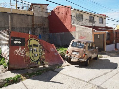 Car and graffiti, Valparaíso